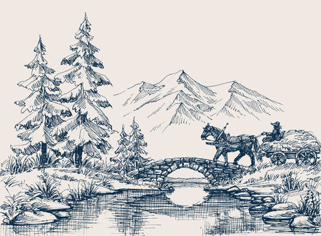 Landelijk idyllisch landschap, paardkar over de rivier