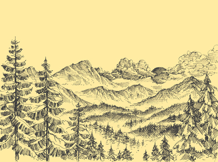 Sunrise over the mountains, alpine panorama