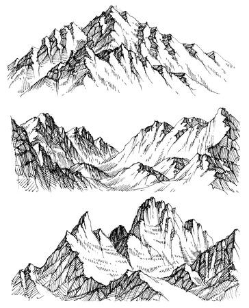 Mountains vector set. Hand drawn rocky peaks Illustration