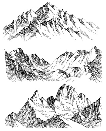 Mountains vector set. Hand drawn rocky peaks Vettoriali