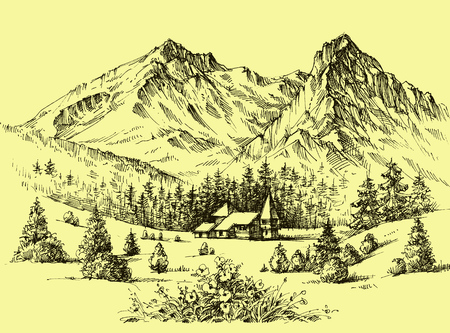 template: Mountains vector wallpaper in retro style