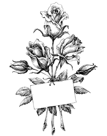 Roses bouquet and frame for text  イラスト・ベクター素材