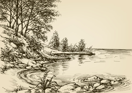view: Small beach background. Hand drawn nature corner