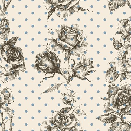 style: Rose vintage seamless pattern