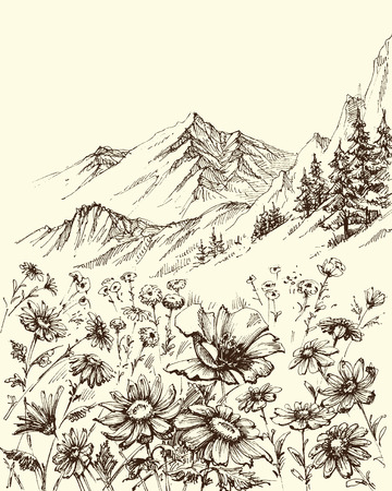 Mountain landscape, flowers border sketch Illustration
