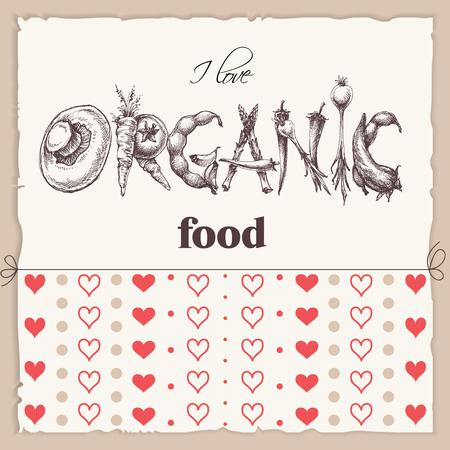 word: Organic food label. Word organic made of vegetables drawing