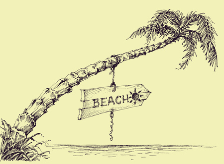 etch: Palm tree on the beach, wooden board indicating the beach Illustration