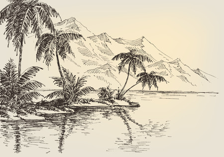Beach drawing, palm trees and mountains in the background