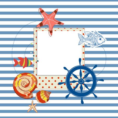 cockle: Summer navy background, photo frame and various marine design elements Illustration