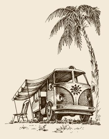 Surf van on the beach under the palm tree 일러스트