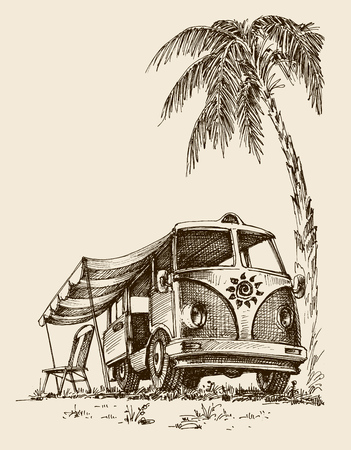 Surf van on the beach under the palm tree Illustration