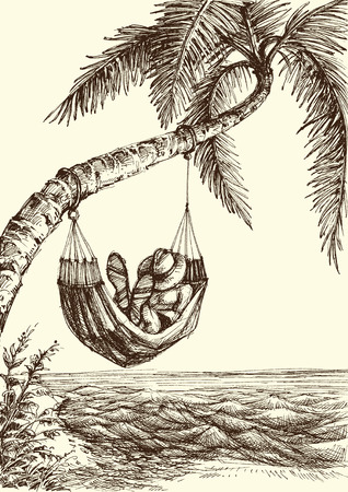 Beach vector illustration, palm tree and hammock sea view
