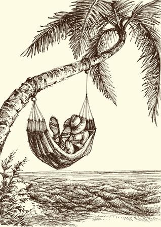 Strandvektorillustration, Palme und Hängemattenseeansicht