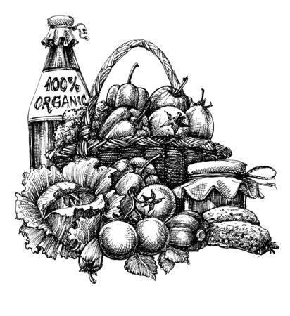 Organic food design, basket with vegetables and fruits, bottle of olive oil