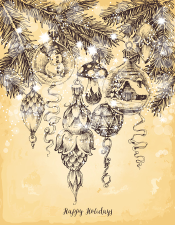 Christmas tree decorations in vintage style