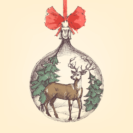 Vintage Christmas ball, deer and pine trees decoration