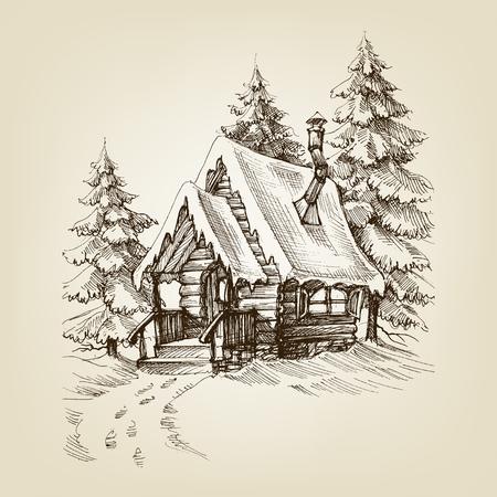 Esterno cabina invernale. Pini alberi foresta e neve