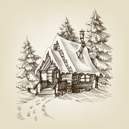 Winter cabin exterior. Pine trees forest and snow