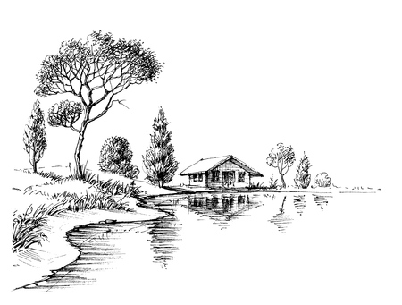 River bank panorama. Nature artistic sketch, relaxation and meditation background Illustration