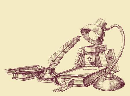 quills: Education and study vintage symbols. Books, lamp, quill pen design Illustration