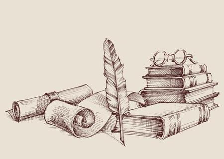 Diplom Ornamente oder Zertifikat Vintage Ornamente, Schreiben und Lesen Konzept. Alte Bücher, Scroll und Federkiel Retro-Ständer