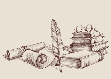 Diploma or certificate vintage ornaments, writing and reading concept. Old books, scroll and quill pen retro stand