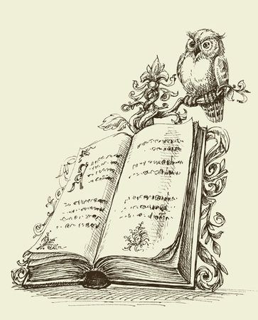 Open book vintage stand and cute owl symbol of wisdom Illustration