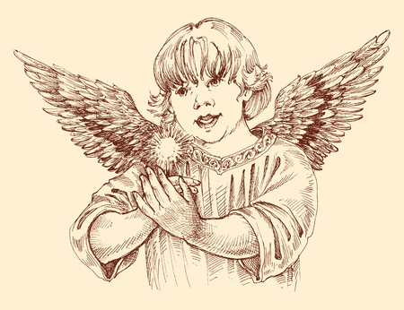 Christmas angel holding light in vintage style