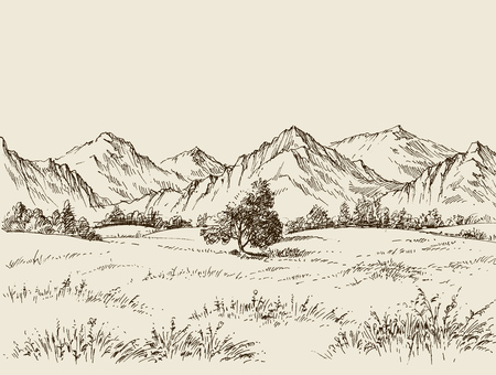 Prairie and mountains panorama Stock Illustratie