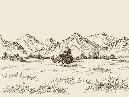 Prairie and mountains panorama Stock Illustratie