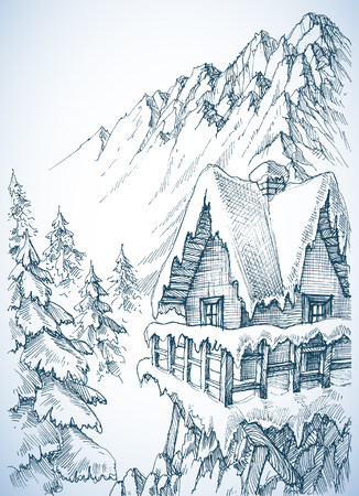 Refuge in the mountains. A winter cabin in the pine forest  Stock Illustratie