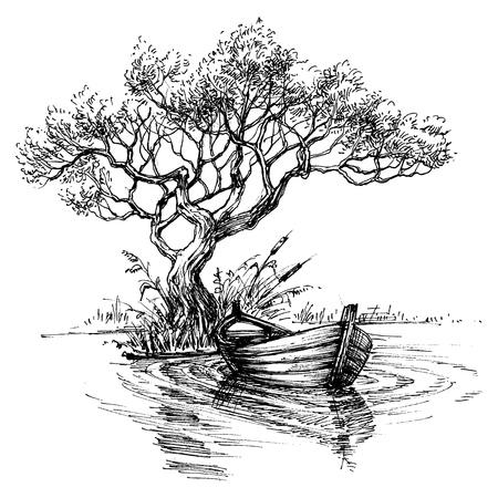 木のスケッチ壁紙の下の水上のボート