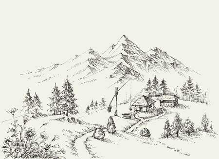 Pastoral site in the mountains. Pure alpine idyllic landscape Vector Illustration