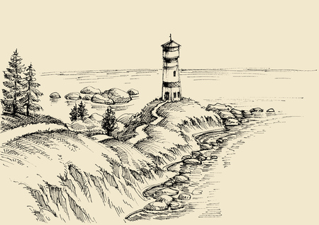 Beach drawing, a path to the lighthouse and beautiful sea view 向量圖像