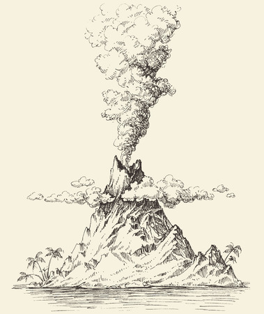 Active volcano drawing. Volcanic eruption on a island vector 向量圖像