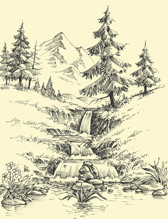 A creek in the mountains. Alpine waterfall landscape
