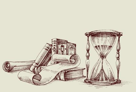 디플로마 또는 인증서 빈티지 디자인 요소, 연구 테이블. 오래 된 책, 스크롤 및 모래 시계 복고풍 스탠드.