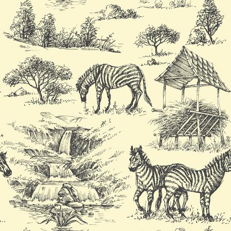 Nature seamless pattern. Zebra and wilderness, safari background