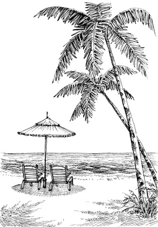 Sea view from the beach, sun umbrella and chairs, palm trees on shore Illustration