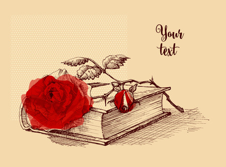 Old book and a rose still life illustration.
