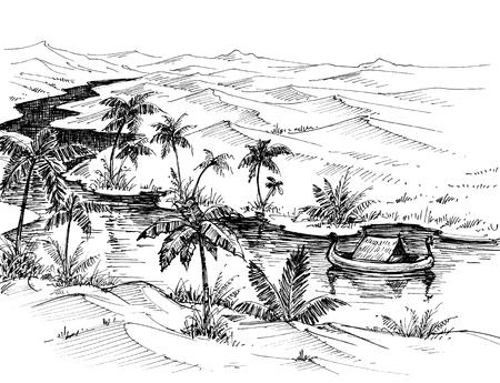 Egypt landscape hand drawing. Boat on Nile river