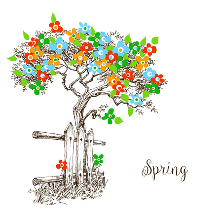 Spring tree in bloom Vector illustration. Illustration