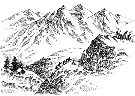 Mountain climbers in high lands drawing Ilustração