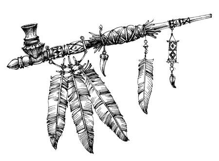 Pipe of Peace tekening. Ceremoniële Indiaanse pijp.
