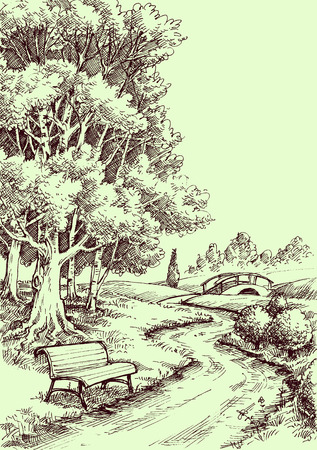 A bench in the park drawing. Peaceful landscape illustration.