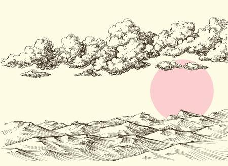 Clouds and sun over desert sand dunes. Desert landscape drawing.