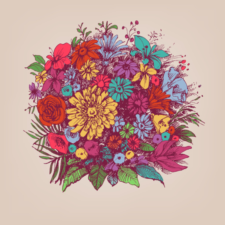 Floral bouquet. Round floral arrangement or floral frame.