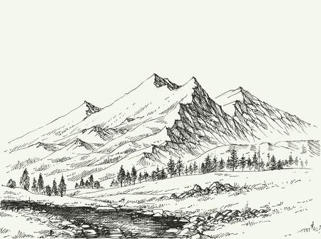 Mountains landscape sketch. River flow and alpine vegetation hand drawing.  イラスト・ベクター素材