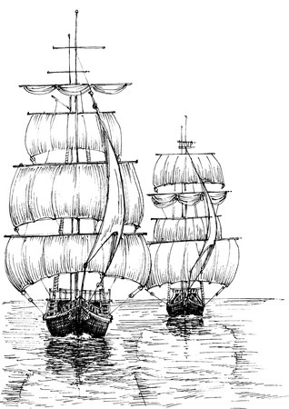 Sail boats on sea black and white sketch