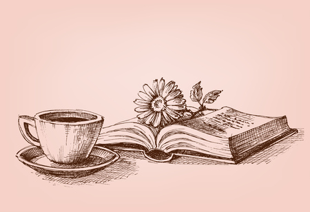 Reading a book conceptual drawing. A flower on a book and a cup of coffee study stand